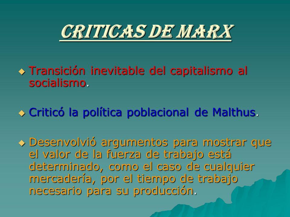 CRITICAS DE MARX Transición inevitable del capitalismo al socialismo. Transición inevitable del capitalismo al socialismo. Criticó la política poblaci