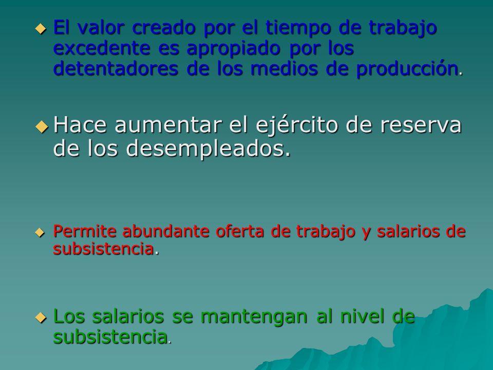 . El valor creado por el tiempo de trabajo excedente es apropiado por los detentadores de los medios de producción. El valor creado por el tiempo de t