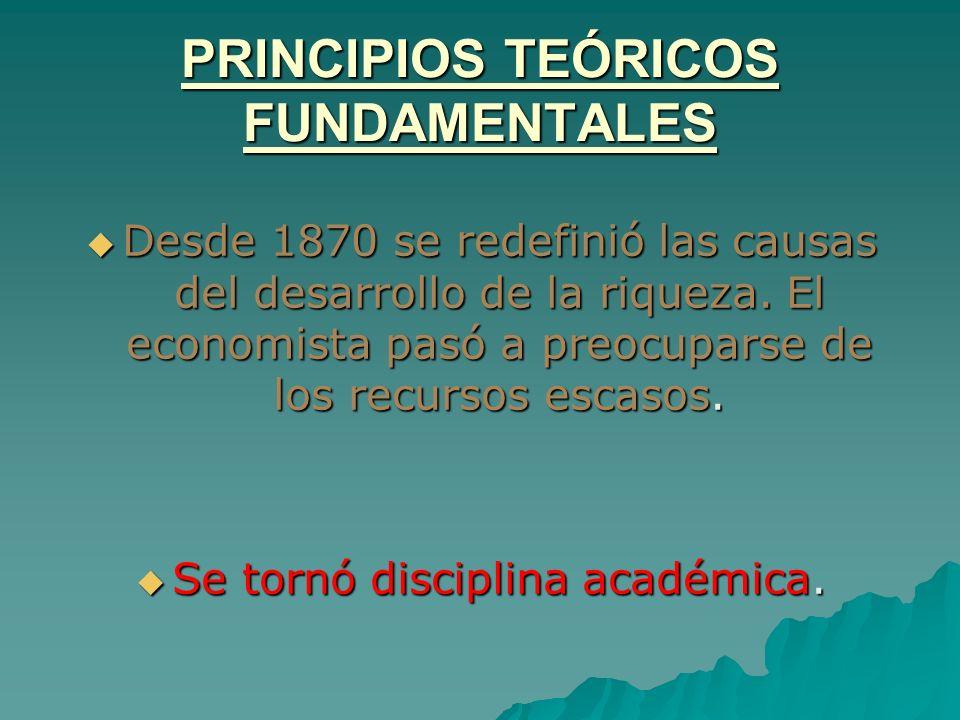 PRINCIPIOS TEÓRICOS FUNDAMENTALES Desde 1870 se redefinió las causas del desarrollo de la riqueza. El economista pasó a preocuparse de los recursos es