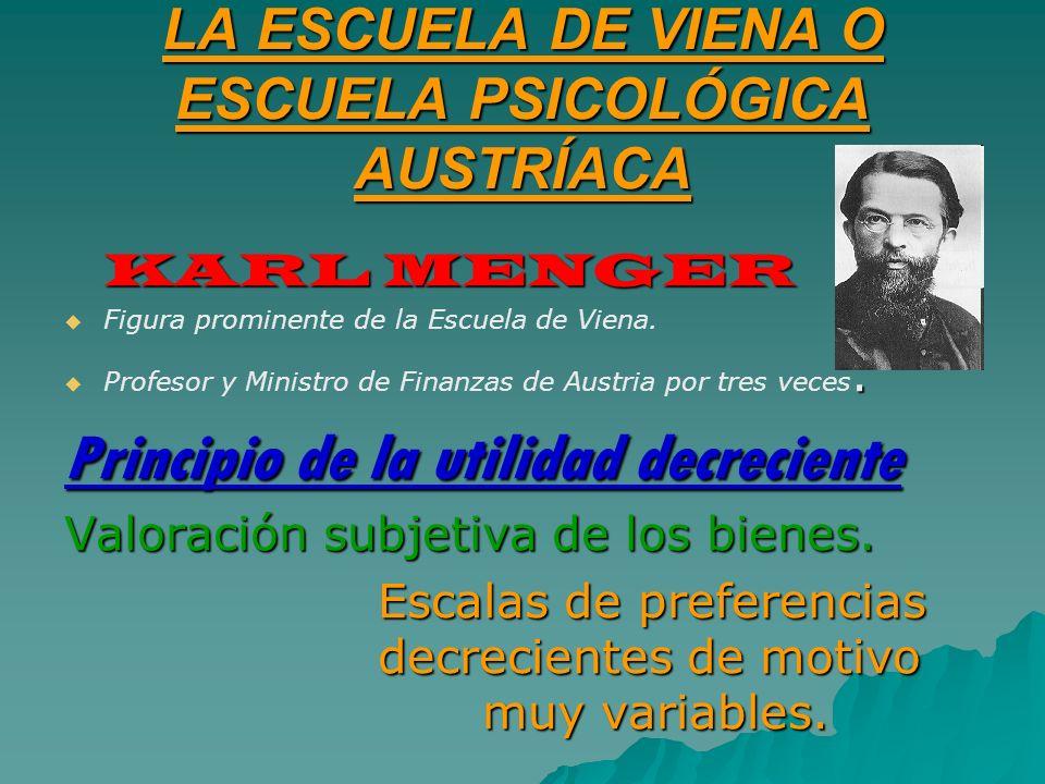 LA ESCUELA DE VIENA O ESCUELA PSICOLÓGICA AUSTRÍACA KARL MENGER Figura prominente de la Escuela de Viena.. Profesor y Ministro de Finanzas de Austria