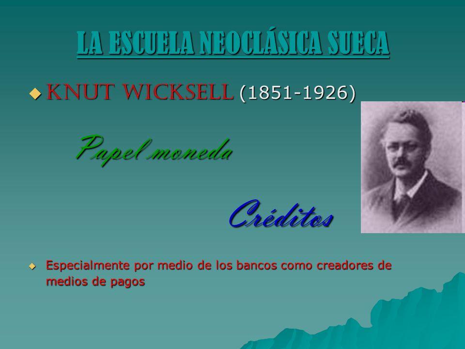 LA ESCUELA NEOCLÁSICA SUECA Knut Wicksell (1851-1926) Knut Wicksell (1851-1926) Papel moneda Papel moneda Créditos Créditos Especialmente por medio de