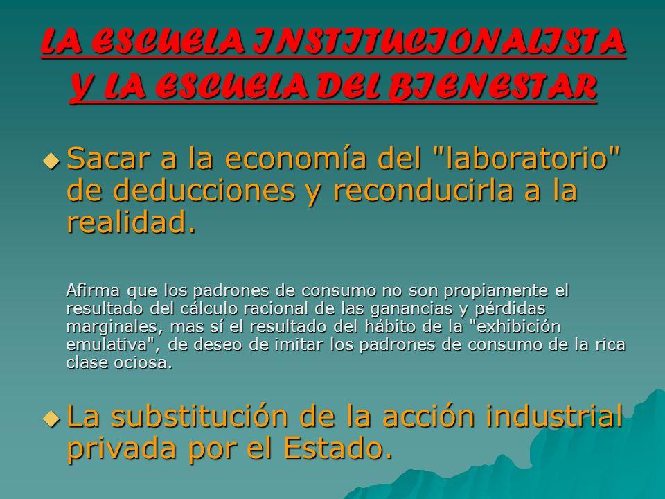 LA ESCUELA INSTITUCIONALISTA Y LA ESCUELA DEL BIENESTAR Sacar a la economía del