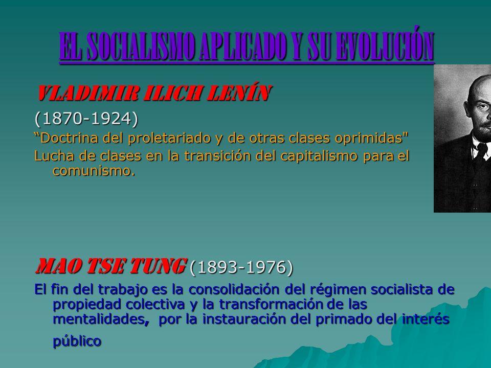 EL SOCIALISMO APLICADO Y SU EVOLUCIÓN VLADIMIR ILICH LENÍN (1870-1924) Doctrina del proletariado y de otras clases oprimidas