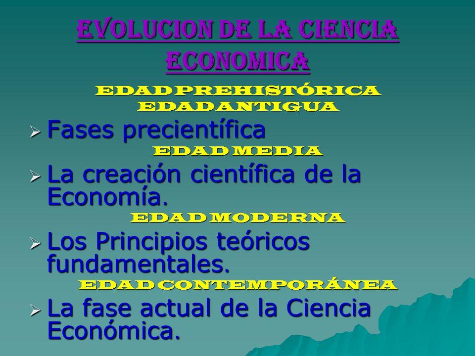 EVOLUCION DE LA CIENCIA ECONOMICA EDAD PREHISTÓRICA EDAD ANTIGUA Fases precientífica Fases precientífica EDAD MEDIA La creación científica de la Econo