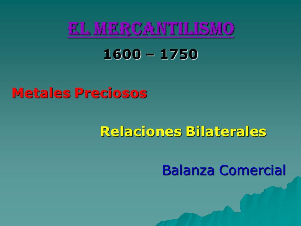 EL MERCANTILISMO 1600 – 1750 Metales Preciosos Relaciones Bilaterales Relaciones Bilaterales Balanza Comercial