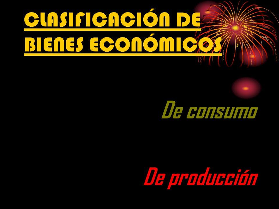 CLASIFICACIÓN DE BIENES ECONÓMICOS De consumo De producción