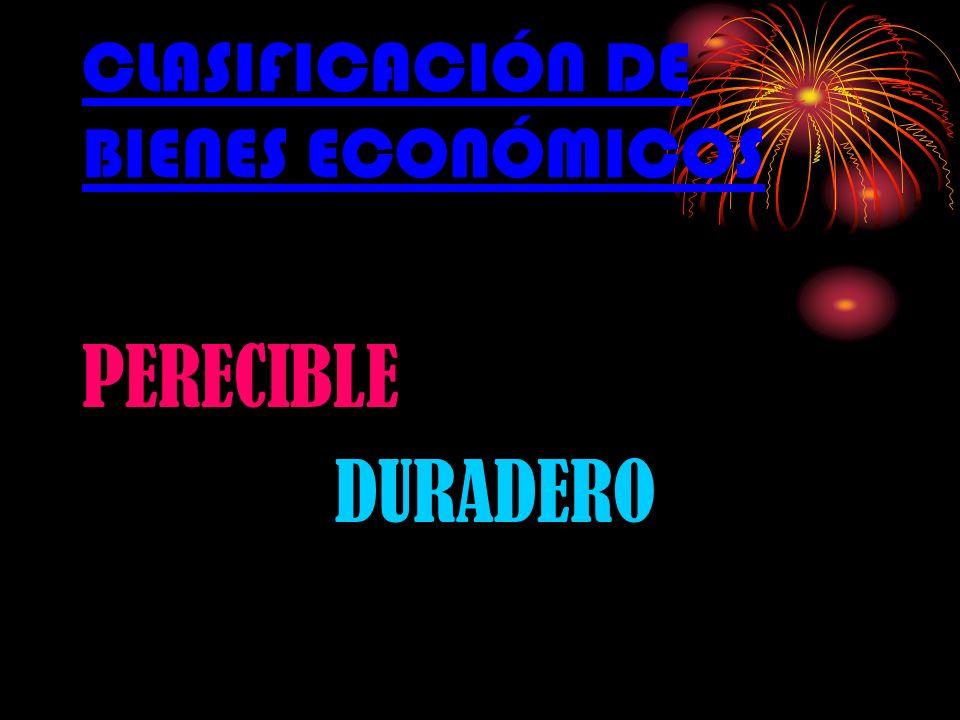 CLASIFICACIÓN DE BIENES ECONÓMICOS PERECIBLE DURADERO
