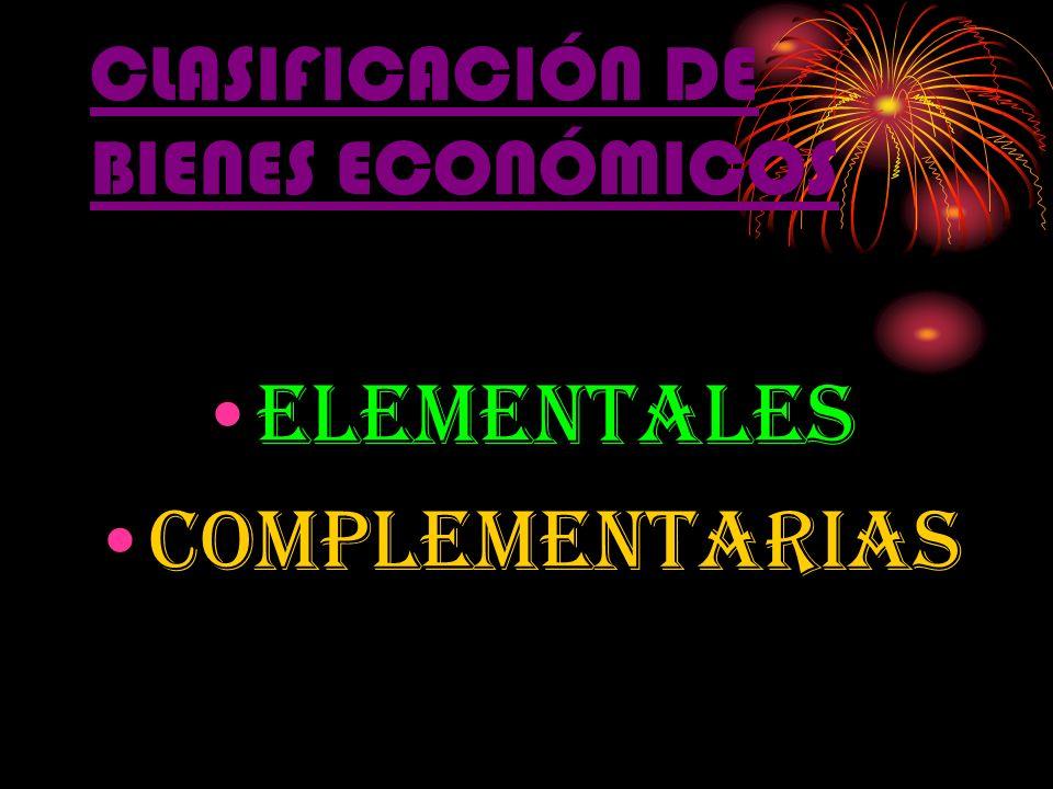 CLASIFICACIÓN DE BIENES ECONÓMICOS elementales complementarias