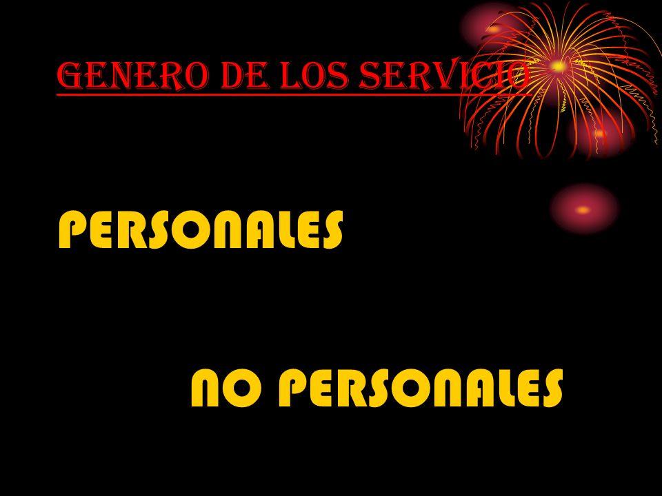 GENERO DE LOS SERVICIO PERSONALES NO PERSONALES
