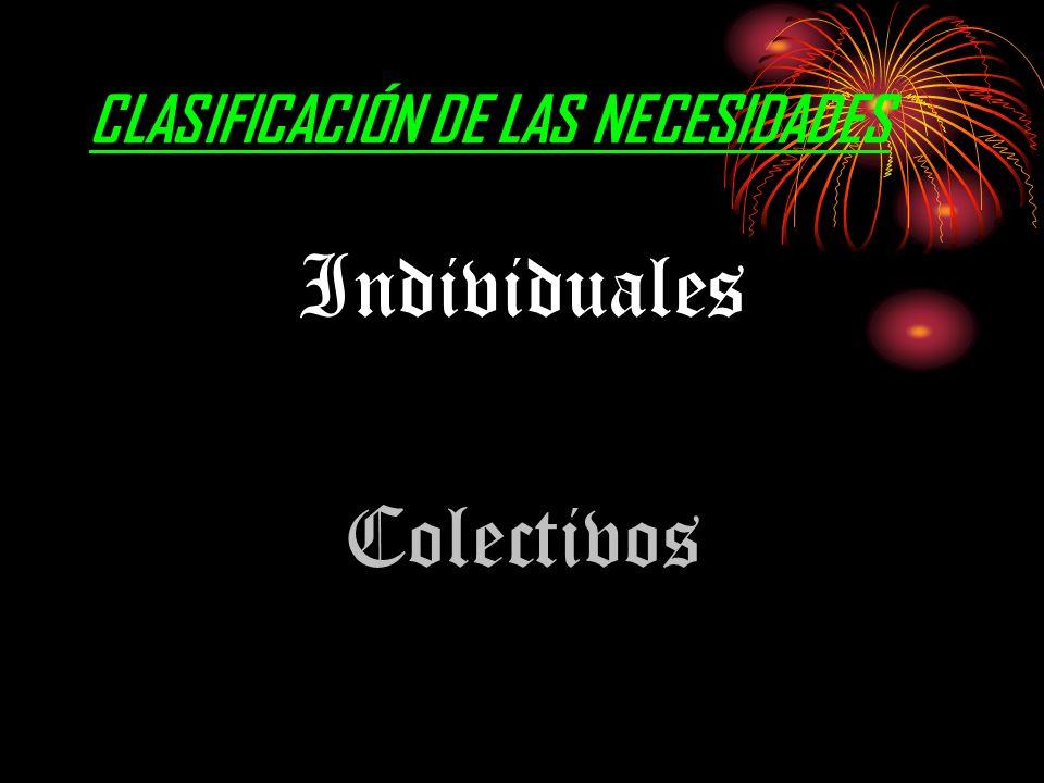 CLASIFICACIÓN DE LAS NECESIDADES Individuales Colectivos
