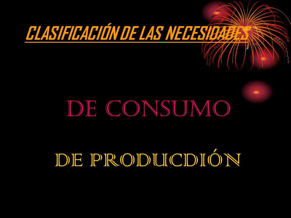 CLASIFICACIÓN DE LAS NECESIDADES DE CONSUMO DE PRODUCDIÓN