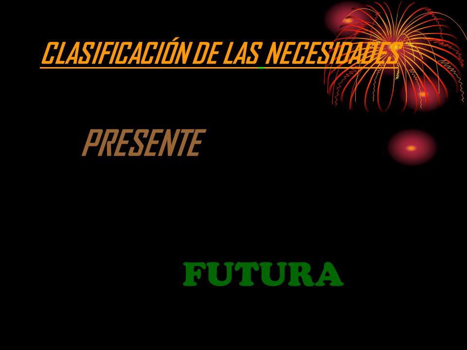 CLASIFICACIÓN DE LAS NECESIDADES PRESENTE FUTURA