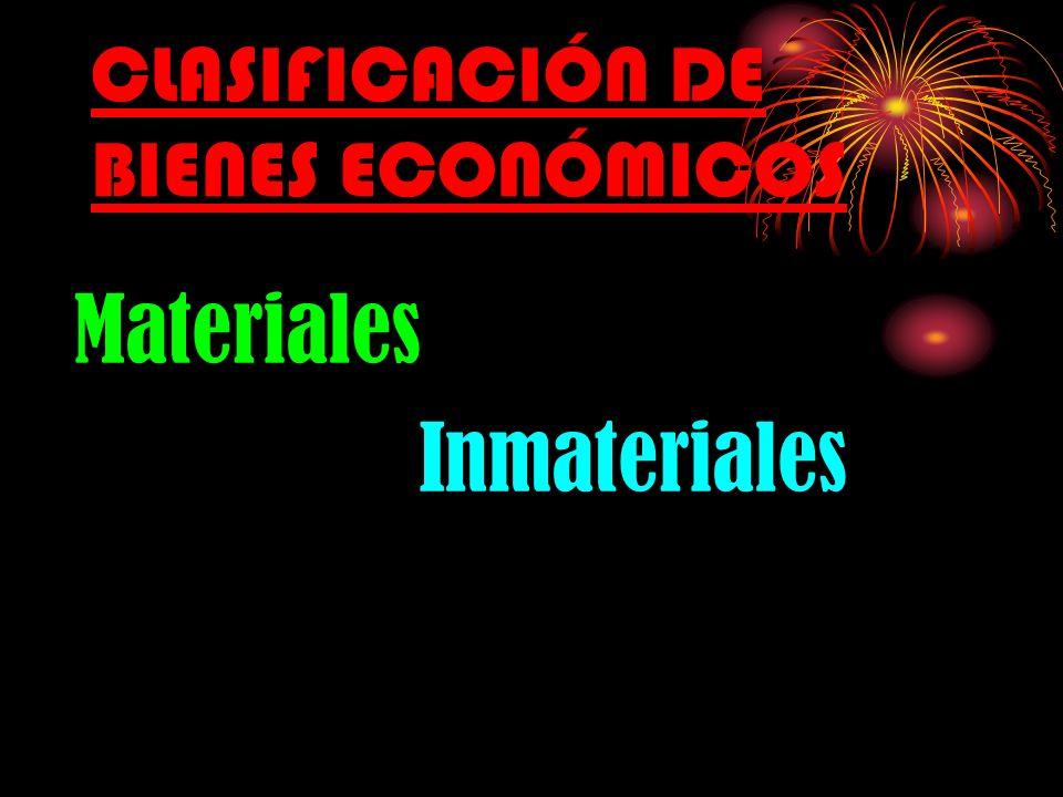 CLASIFICACIÓN DE BIENES ECONÓMICOS Materiales Inmateriales