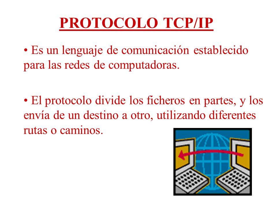 PROTOCOLO TCP/IP Es un lenguaje de comunicación establecido para las redes de computadoras. El protocolo divide los ficheros en partes, y los envía de