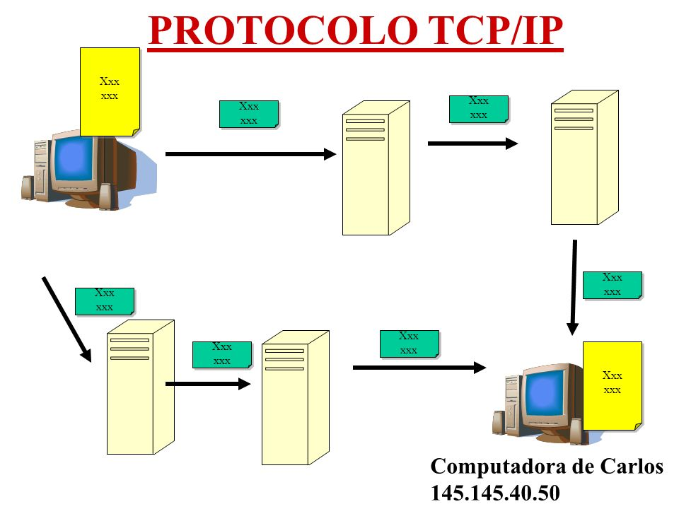PROTOCOLO TCP/IP Computadora de Luis 125.125.40.11 Computadora de Carlos 145.145.40.50 Xxx xxx Xxx xxx Xxx xxx Xxx xxx Xxx xxx Xxx xxx Xxx xxx Xxx xxx