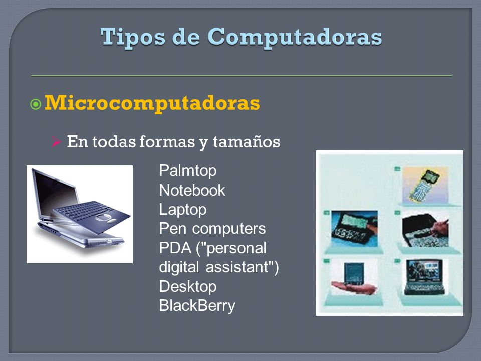 Microcomputadoras En todas formas y tamaños Palmtop Notebook Laptop Pen computers PDA (