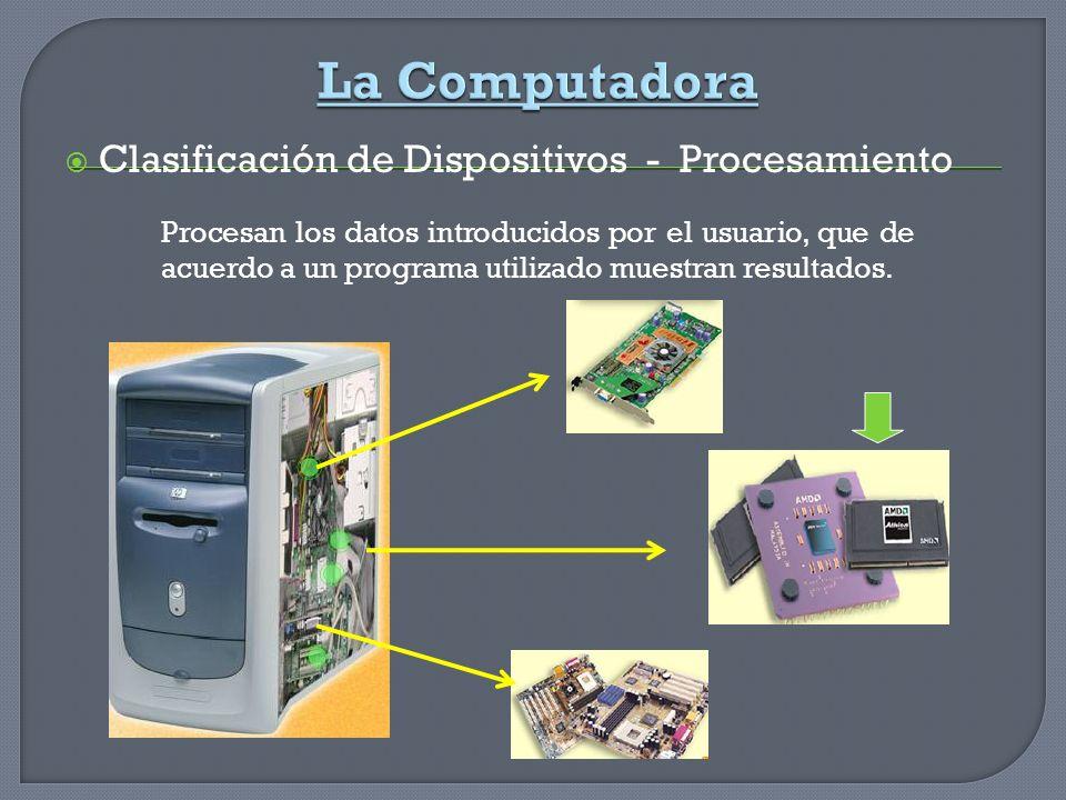 Clasificación de Dispositivos - Procesamiento Procesan los datos introducidos por el usuario, que de acuerdo a un programa utilizado muestran resultad