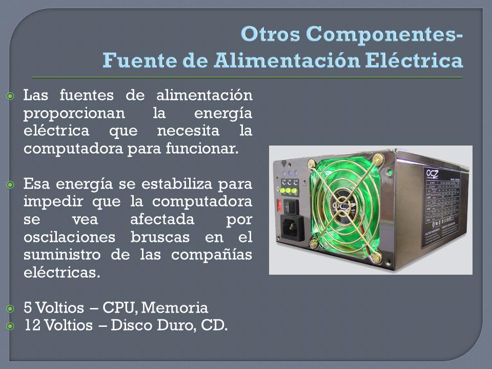 Otros Componentes- Fuente de Alimentación Eléctrica Las fuentes de alimentación proporcionan la energía eléctrica que necesita la computadora para fun