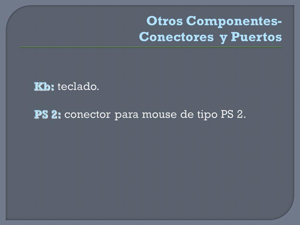 Kb: teclado. PS 2: conector para mouse de tipo PS 2. Kb: teclado. PS 2: conector para mouse de tipo PS 2. Otros Componentes- Conectores y Puertos