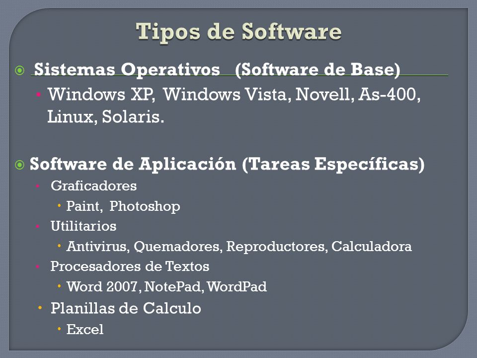 Tipos de Software Sistemas Operativos (Software de Base) Windows XP, Windows Vista, Novell, As-400, Linux, Solaris. Software de Aplicación (Tareas Esp