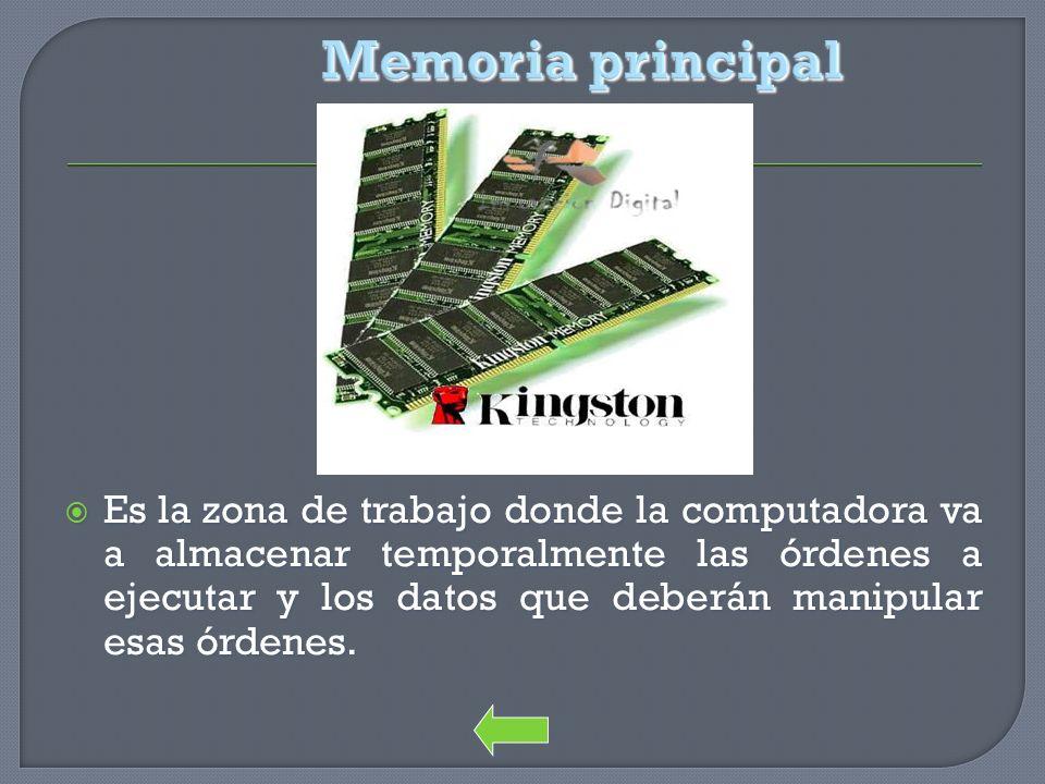 Memoria principal Es la zona de trabajo donde la computadora va a almacenar temporalmente las órdenes a ejecutar y los datos que deberán manipular esa