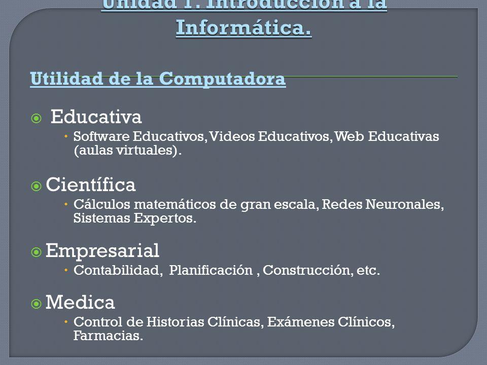 Utilidad de la Computadora Educativa Software Educativos, Videos Educativos, Web Educativas (aulas virtuales). Científica Cálculos matemáticos de gran