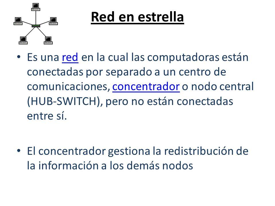 Red en estrella Es una red en la cual las computadoras están conectadas por separado a un centro de comunicaciones, concentrador o nodo central (HUB-S