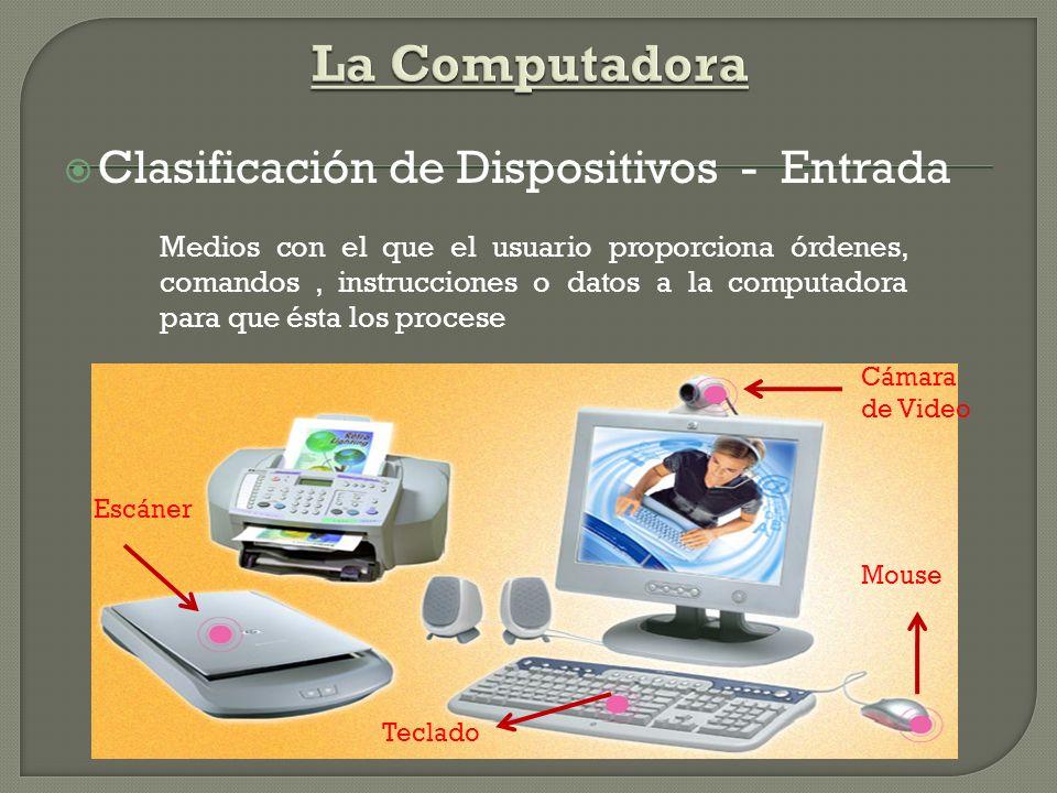 Clasificación de Dispositivos - Salida Presentan al usuario el resultado final del procesamiento de la Información ImpresoraMonitor Parlantes