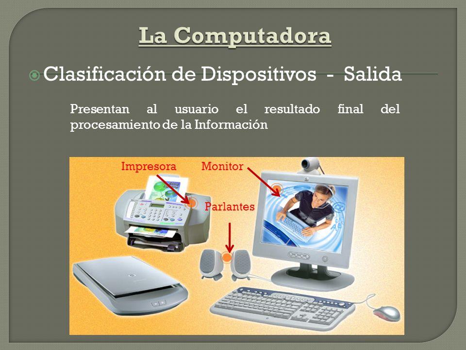 Clasificación de Dispositivos - Almacenamiento Se guarda el Software (Sistemas Operativos, Software de Aplicación, Archivos)