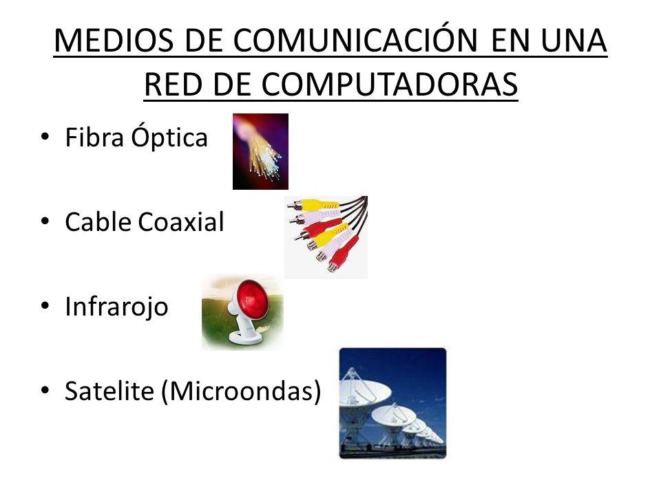 MEDIOS DE COMUNICACIÓN EN UNA RED DE COMPUTADORAS Fibra Óptica Cable Coaxial Infrarojo Satelite (Microondas)