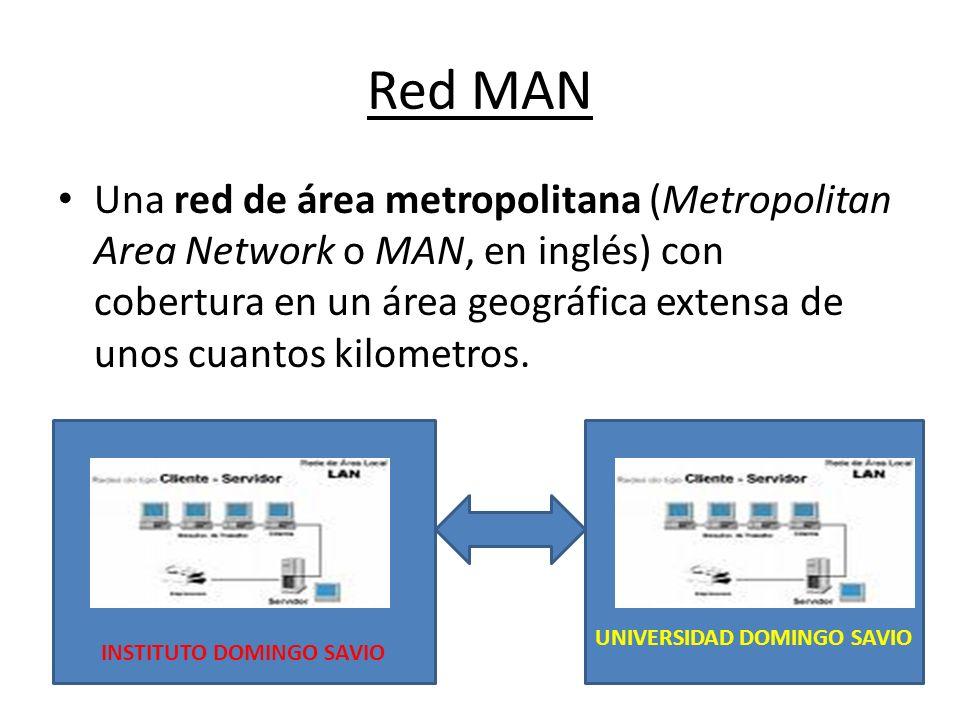 Red MAN Una red de área metropolitana (Metropolitan Area Network o MAN, en inglés) con cobertura en un área geográfica extensa de unos cuantos kilomet
