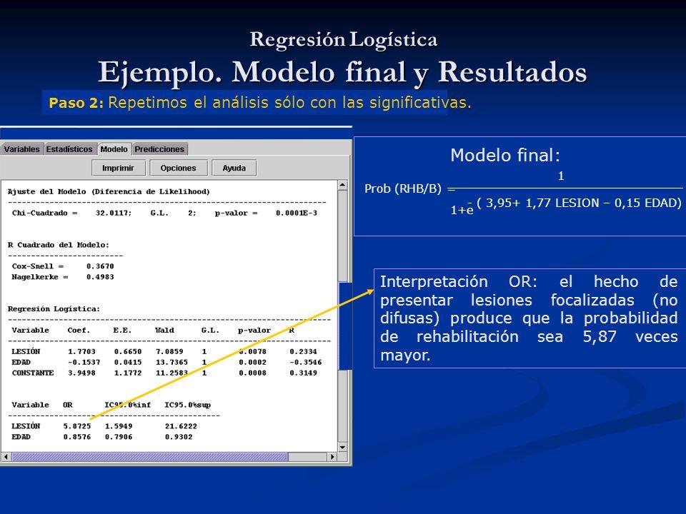 Paso 2: Repetimos el análisis sólo con las significativas. Interpretación OR: el hecho de presentar lesiones focalizadas (no difusas) produce que la p