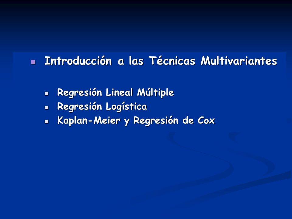 Introducción a las Técnicas Multivariantes Introducción a las Técnicas Multivariantes Regresión Lineal Múltiple Regresión Lineal Múltiple Regresión Lo