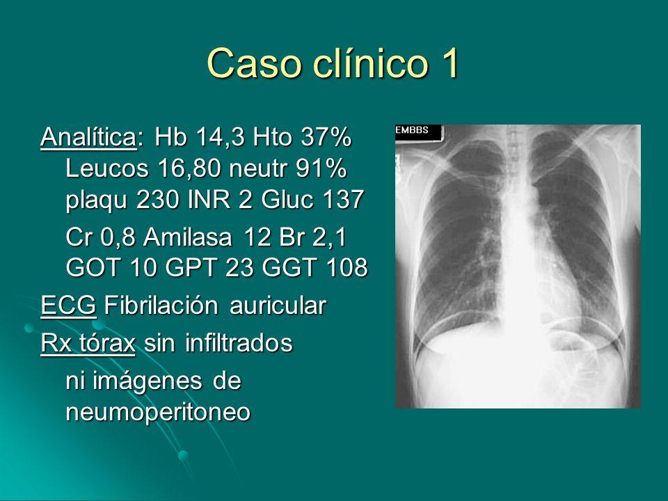Caso clínico 1 Analítica: Hb 14,3 Hto 37% Leucos 16,80 neutr 91% plaqu 230 INR 2 Gluc 137 Cr 0,8 Amilasa 12 Br 2,1 GOT 10 GPT 23 GGT 108 ECG Fibrilación auricular Rx tórax sin infiltrados ni imágenes de neumoperitoneo