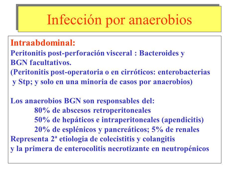 Infección por anaerobios Intraabdominal: Peritonitis post-perforación visceral : Bacteroides y BGN facultativos. (Peritonitis post-operatoria o en cir