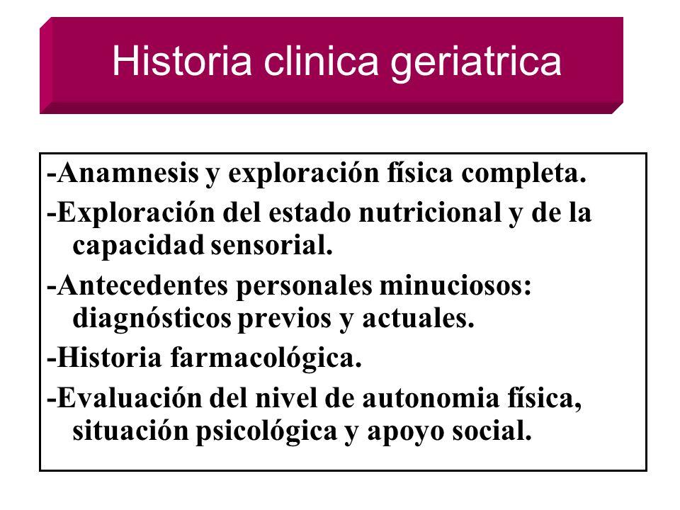 Historia clinica geriatrica -Anamnesis y exploración física completa. -Exploración del estado nutricional y de la capacidad sensorial. -Antecedentes p