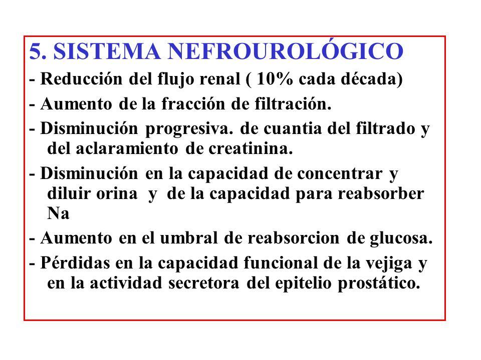 5. SISTEMA NEFROUROLÓGICO - Reducción del flujo renal ( 10% cada década) - Aumento de la fracción de filtración. - Disminución progresiva. de cuantia
