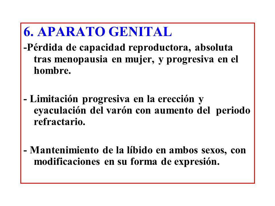 6. APARATO GENITAL -Pérdida de capacidad reproductora, absoluta tras menopausia en mujer, y progresiva en el hombre. - Limitación progresiva en la ere