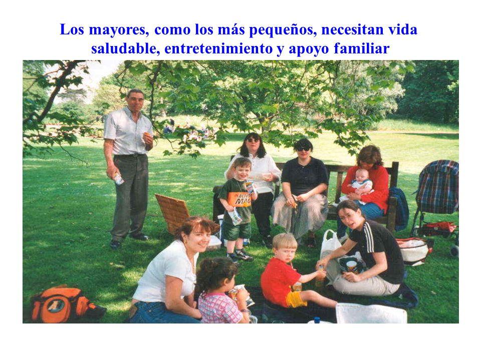 Los mayores, como los más pequeños, necesitan vida saludable, entretenimiento y apoyo familiar