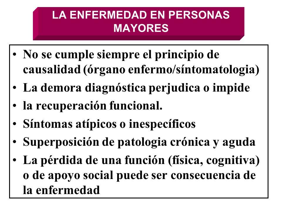 LA ENFERMEDAD EN PERSONAS MAYORES No se cumple siempre el principio de causalidad (órgano enfermo/síntomatologia) La demora diagnóstica perjudica o im