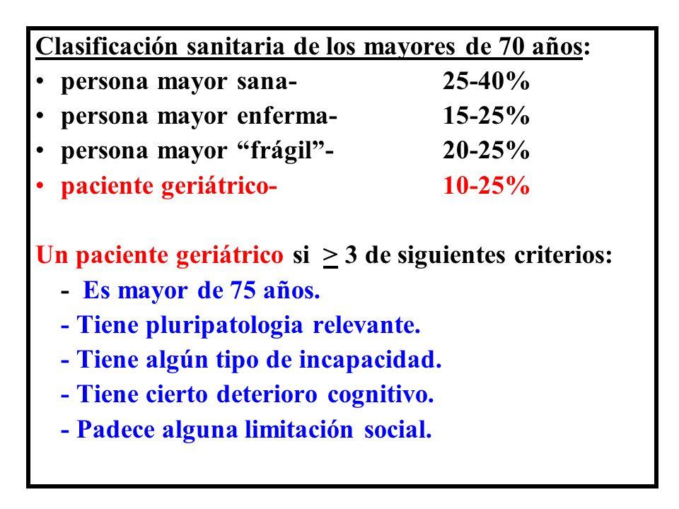 Clasificación sanitaria de los mayores de 70 años: persona mayor sana- 25-40% persona mayor enferma- 15-25% persona mayor frágil- 20-25% paciente geri