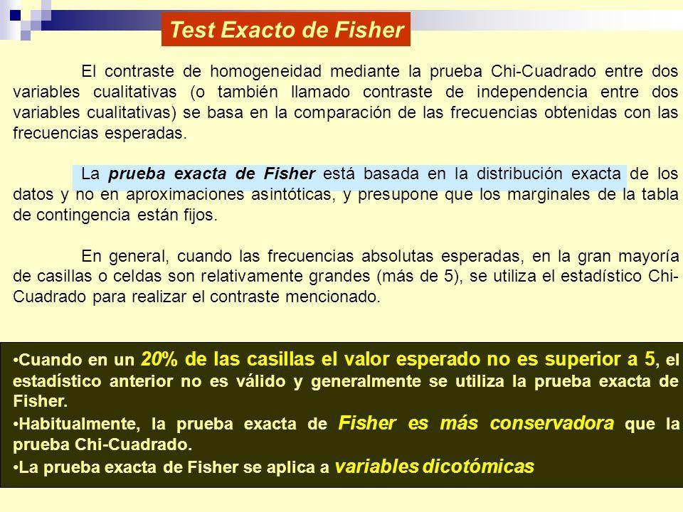 Test Exacto de Fisher El contraste de homogeneidad mediante la prueba Chi-Cuadrado entre dos variables cualitativas (o también llamado contraste de independencia entre dos variables cualitativas) se basa en la comparación de las frecuencias obtenidas con las frecuencias esperadas.
