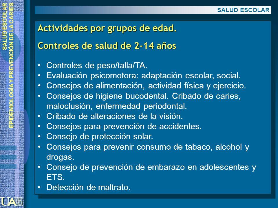 EPIDEMIOLOGÍA Y PREVENCIÓN DE LA CARIES Actividades por grupos de edad. Controles de salud de 2-14 años Controles de peso/talla/TA. Evaluación psicomo