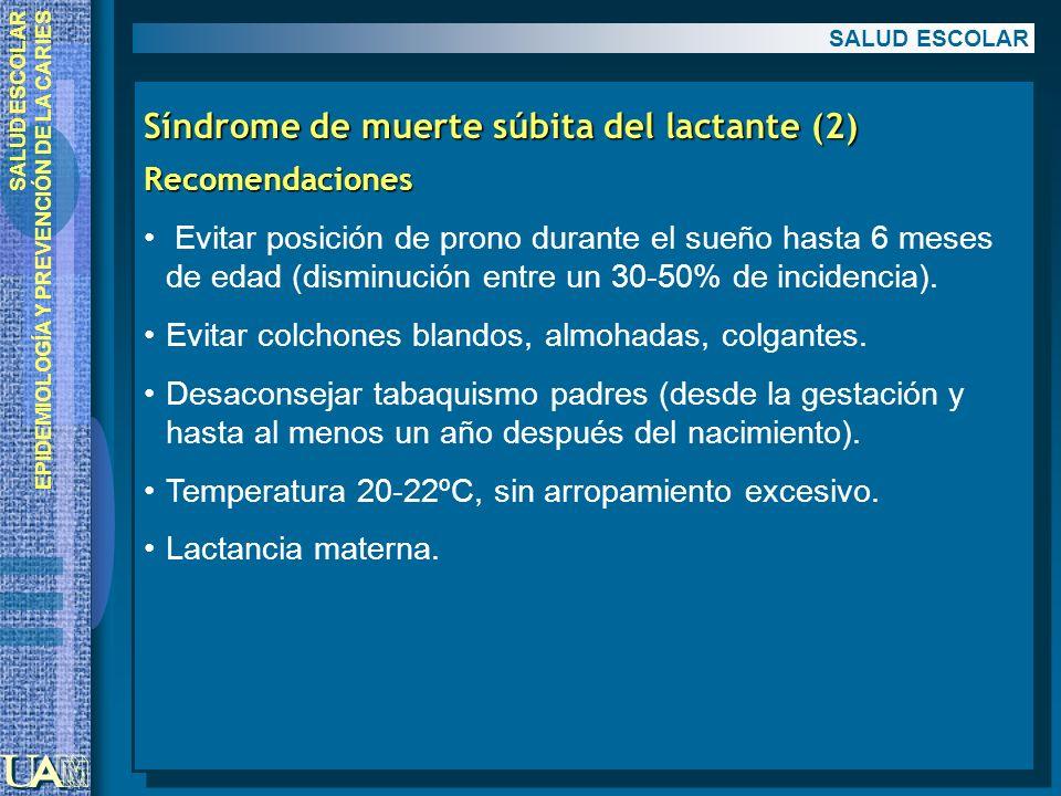 EPIDEMIOLOGÍA Y PREVENCIÓN DE LA CARIES Síndrome de muerte súbita del lactante (2) Recomendaciones Evitar posición de prono durante el sueño hasta 6 m