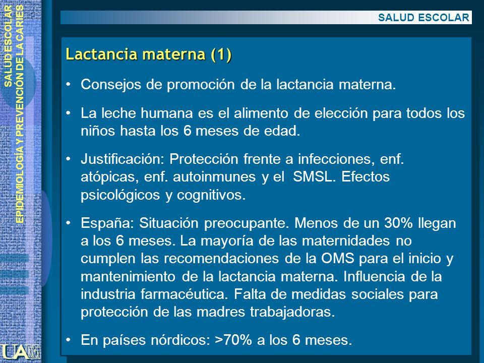 EPIDEMIOLOGÍA Y PREVENCIÓN DE LA CARIES Lactancia materna (1) Consejos de promoción de la lactancia materna. La leche humana es el alimento de elecció