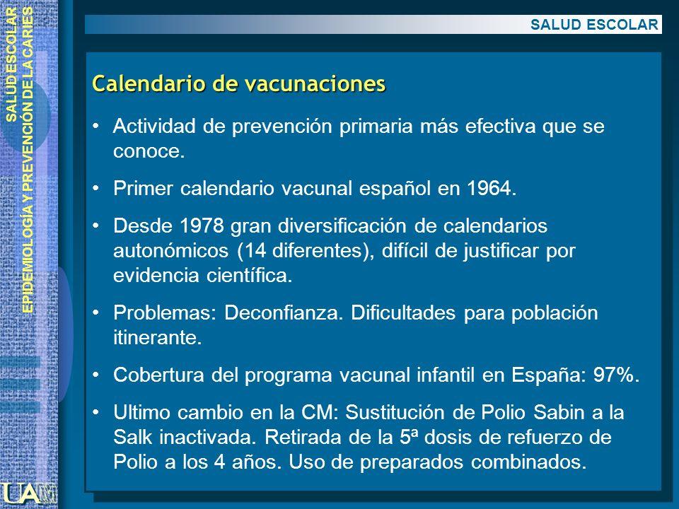 SALUD ESCOLAR EPIDEMIOLOGÍA Y PREVENCIÓN DE LA CARIES Calendario de vacunaciones Actividad de prevención primaria más efectiva que se conoce. Primer c