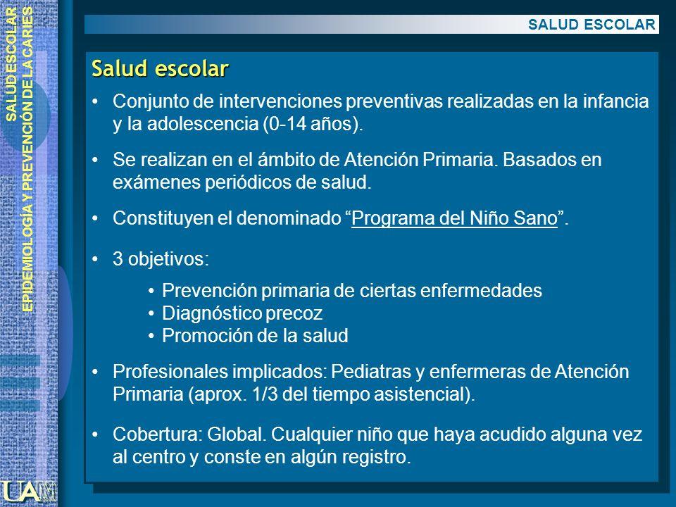 SALUD ESCOLAR EPIDEMIOLOGÍA Y PREVENCIÓN DE LA CARIES Salud escolar Conjunto de intervenciones preventivas realizadas en la infancia y la adolescencia
