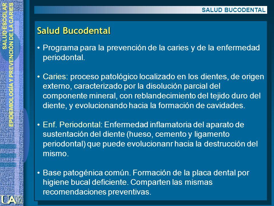 SALUD ESCOLAR EPIDEMIOLOGÍA Y PREVENCIÓN DE LA CARIES Salud Bucodental Programa para la prevención de la caries y de la enfermedad periodontal. Caries