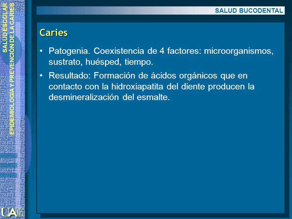 SALUD ESCOLAR EPIDEMIOLOGÍA Y PREVENCIÓN DE LA CARIES Caries Patogenia. Coexistencia de 4 factores: microorganismos, sustrato, huésped, tiempo. Result