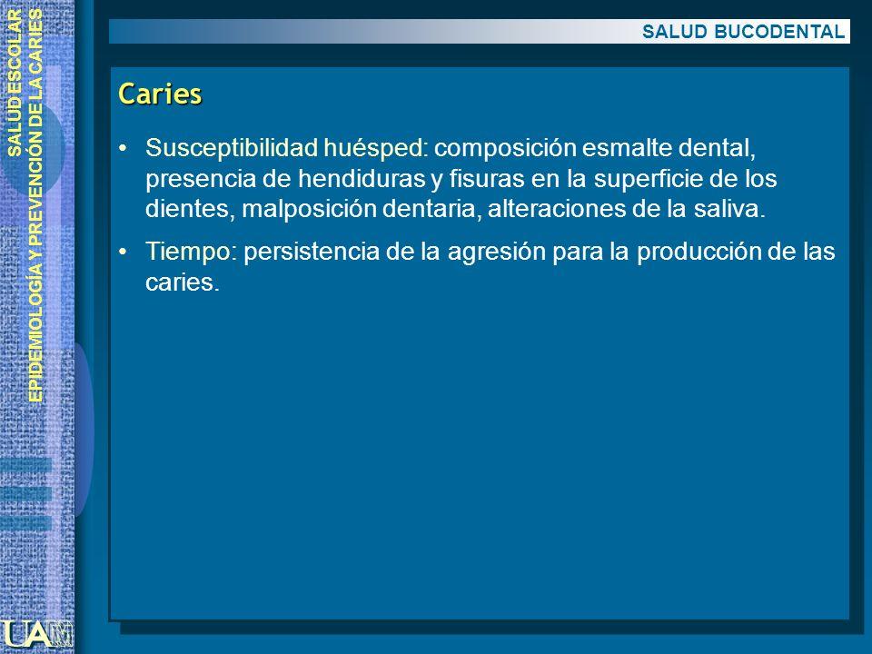 SALUD ESCOLAR EPIDEMIOLOGÍA Y PREVENCIÓN DE LA CARIES Caries Susceptibilidad huésped: composición esmalte dental, presencia de hendiduras y fisuras en